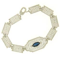 10k White Gold Filigree Link Bracelet w/ Marquise Sim Sapphire