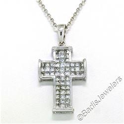 18kt White Gold 1.31 ctw Invisible Set Princess Cut Diamond Cross Pendant Neckla