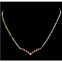 1.70 ctw Ruby and Diamond Necklace - 18KT Yellow Gold