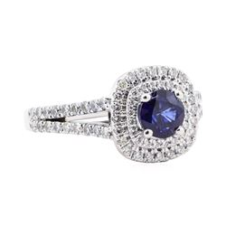 2.11 ctw Sapphire and Diamond Ring - 14KT White Gold