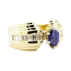 1.52 ctw Sapphire and Diamond Ring - 14KT Yellow Gold
