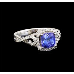 14KT White Gold 1.62 ctw Tanzanite and Diamond Ring
