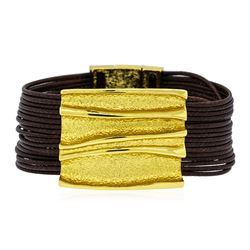 Rectangle Pendant Multi Strand Bracelet - Gold Plated