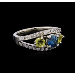 0.54 ctw Blue Diamond and Sapphire Ring - 14KT White Gold