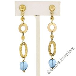 14kt Yellow Gold Briolette Cut Blue Topaz Bead Long Textured Dangle Earrings