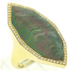Ippolita 18K Yellow Gold Large Unique Black Mother of Pearl .65 ctw Diamond Ring
