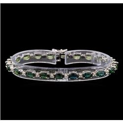 14KT White Gold 11.20 ctw Green Sapphire and Diamond Bracelet