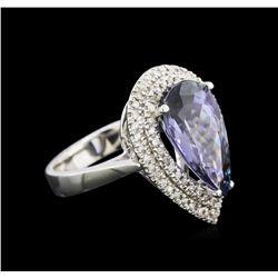 6.31 ctw Tanzanite and Diamond Ring - 14KT White Gold