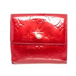 Louis Vuitton Red Monogram Vernis Leather Elise Wallet