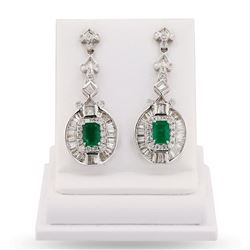 2.25 ctw Emerald and 2.55 ctw Diamond 14K White Gold Earrings