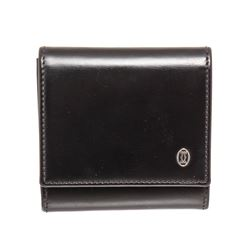 Cartier Black Leather Square Coin Purse Wallet