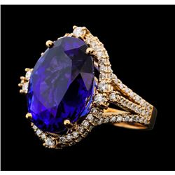 16.75 ctw Tanzanite and Diamond Ring - 14KT Rose Gold