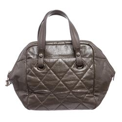 Chanel Gray Quilted Vinyl Bowling Satchel Handbag