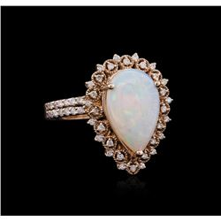 1.00 ctw Opal and Diamond Ring - 14KT Rose Gold