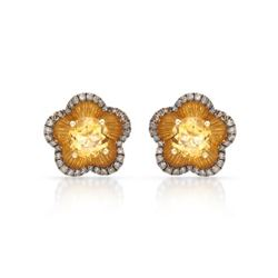 14k Yellow Gold  3.02CTW Citrine and Brown Diamonds Earrings