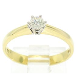 Atasay 18kt Yellow and White Gold Round Diamond Solitaire Engagement Ring