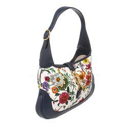 Gucci Blue Flora Print Jackie Medium Hobo Bag