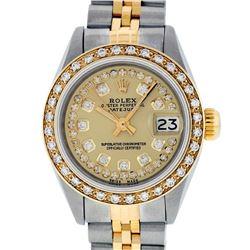 Rolex Ladies 2 Tone Champagne String Diamond Datejust Wristwatch