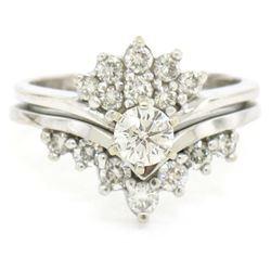 14kt White Gold 1.00 ctw Diamond Cluster Cocktail Ring