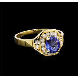1.00 ctw Tanzanite and Diamond Ring - 14KT Yellow Gold