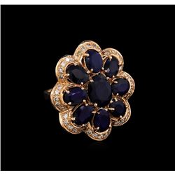 14KT Rose Gold 10.37 ctw Sapphire Ring
