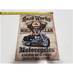 Road Works Motorcycles Tin Sign