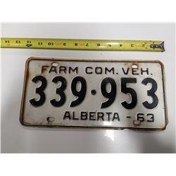 1963 Alberta Farm License Plate