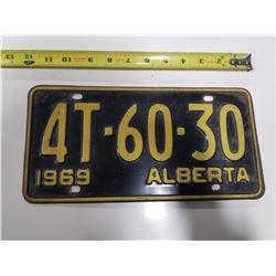 1969 Alberta License Plate