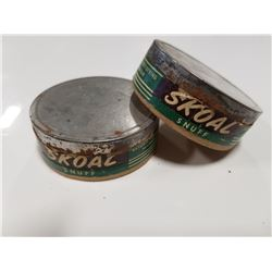 Vintage Skoal Snuff Chewing Tobacco Tins x2