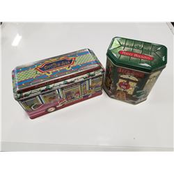 Lot of 2 1996 & 2000 M&M Christmas Tins