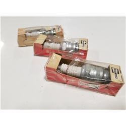 Lot of 3 Champion Spark Plugs Branded by Gulf Oil
