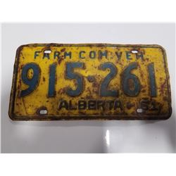 1961 Farm Vehcile Alberta License Plate