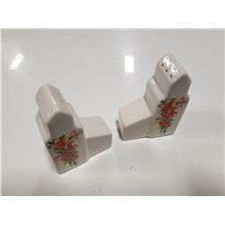 Pair of Vintage Ceramic Floral Design Grain Elevator Salt & Pepper Shakers