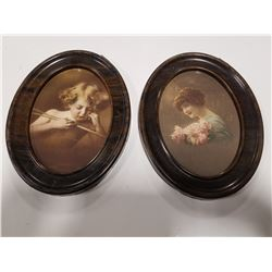 Lot of 2 Antique Framed Print in Oval Tin Frames