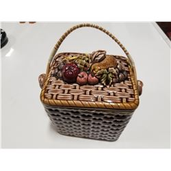Small Ceramic Picnic Basket Cookie Jar