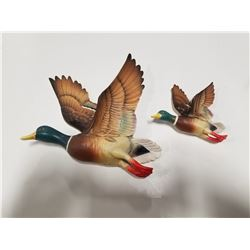 Vintage Chalkware Hanging Mallard Ducks