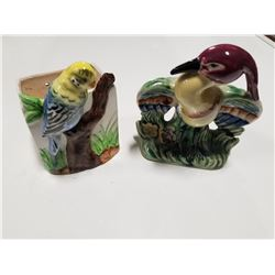 Lot of 2 Vintage Chalkware Tropical Birds: Planter & Vase