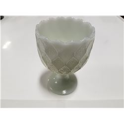 "Milk Glass Goblet 4"" Diameter"