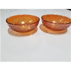 Lot of 2 Small Matching Orange Vintag Glass Bowls