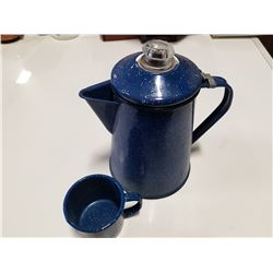 Blue Enamel Camp Coffe Pot with Matching Tin Cup
