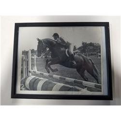 Vintage Black & White Framed Horse Jumping Photo