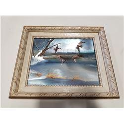 Vintage Framed Winter Ducks in Flight Art