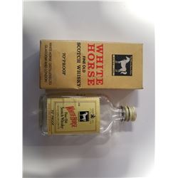 Vintage White Horse Scotch Whiskey Small Flast Bottle with Original Box