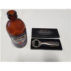"""Vintage Labatt's Beer """"Stubbie"""" Bottle * Labatt Beer Iopener"""