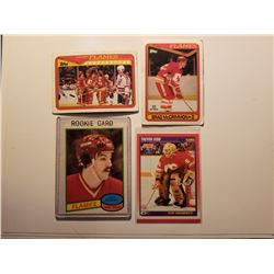 Lot of 4 Older Calgary Flames Hockey Cards