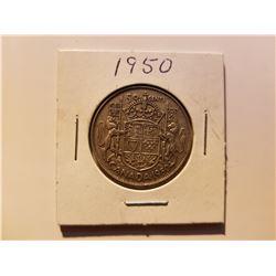 1950 Canda Silver 50 Cemt Coin