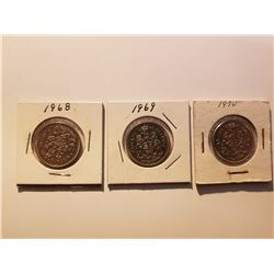 1968, 1969, 1970 Canada 50 Cent Coins