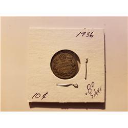 1936 Canada 10 Cent Silver Coin
