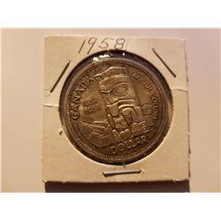 1958 Canada Silver One Dollar