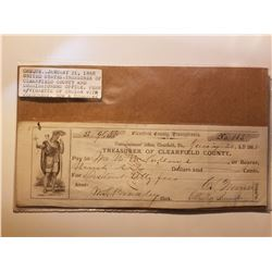 1868 Cheque from Clearfield County Pennsylvania